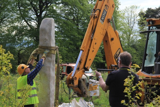 putting up the stone